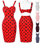 New Ladys Sexy Polka Dots Vintage 50's Bodycon Pencil Party Wiggle Midi Dress