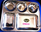 St-Steel Asian Authentic 5 Compartment food Thali/Tray Chapatti,Curry,Nans,Salad
