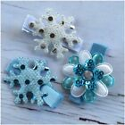 Miss FROZEN Inspired Flower/Snowflake Hair Clips Blue/White Set of 3 only $10!!!
