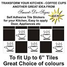 "10 x Tile transfers stickers tea coffee cups kitchen for 6"" tile LOTS OF COLOURS"