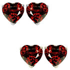 7mm Heart CZ Garnet Birthstone Gemstone Stud Earrings 14K White/Yellow Gold