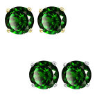 6mm Round CZ Emerald Birthstone Gemstone Stud Earrings 14K White Yellow Gold