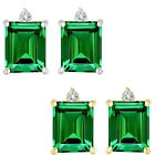 0.01 Carat TCW Diamond Octogon Emerald Gemstone Earring 14K White Yellow Gold