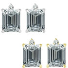 0.01 Carat TCW Diamond Octogon Birthstone Gemstone Earring 14K White Yellow Gold