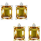 0.01 Carat TCW Diamond Octogon Citrine Gemstone Earring 14K White Yellow Gold
