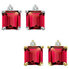 0.01 Carat TCW Diamond Princess Ruby Gemstone Earrings 14K White Yellow Gold