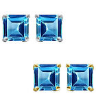 6mm Princess CZ BlueTopaz Birthstone Gemstone Stud Earring 14K White Yellow Gold