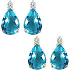 0.01 Carat Diamond Pear Blue Topaz Gemstone Earrings 14K White Yellow Gold