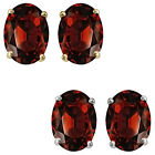 7x5mm Oval CZ Garnet Birthstone Gemstone Stud Earrings 14K White Yellow Gold