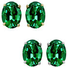 7x5mm Oval CZ Emerald Birthstone Gemstone Stud Earrings 14K White Yellow Gold