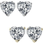 6mm Heart Cubic Zirconia Birthstone Gemstone Stud Earrings 14K White Yellow Gold