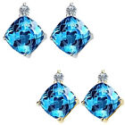 0.01 Carat Diamond Cushion Blue Topaz Gemstone Earring 14K White Yellow Gold