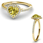 8MM Citrine Birth Gem Stone Halo Solitaire Heart Love Ring 14K Yellow Gold