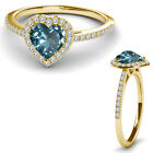 8MM Aquamarine Birth Gem Stone Halo Solitaire Heart Love Ring 14K Yellow Gold