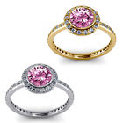 1.50 Carat Diamond Pink Topaz Gem Stone Halo 14K Yellow-White Gold Promises Ring