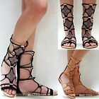 New Women FAta Black Tan Beaded Mid Calf Roman Gladiator Flat Sandals sz 6 to 10