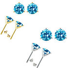 Blue Topaz Birthstone Gem 3 Prong Martini Stud Solitaire Round Silver Earrings