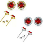 6mm Garnet Birthstone Gem Stud Halo Solitaire Round Silver Earrings