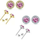 5mm Pink Topaz Birthstone Gem Stud Halo Solitaire Round Silver Earrings