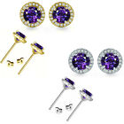 5mm Amethyst Birthstone Gem Stud Halo Solitaire Round Silver Earrings
