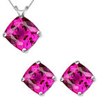 6mm Cushion CZ Pink Topaz Birthstone Pendant Earring Set 14K White Yellow Gold