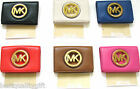 NEW-MICHAEL KORS FULTON GENUINE LEATHER+GOLD TONE CARD CASE WALLET