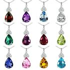 Pear Shape Select Gem Birth stone Sterling Silver Pendant Necklace 18 Chain