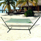Beach Quilted Double Hammock with Stand 2 Person, Spreader Bar, Pillow 79''x55''