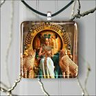 CLEOPATRA QUEEN OF EGYPT SQUARE PENDANTS NECKLACE MEDIUM OR LARGE st54cj