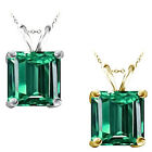7mm Princess CZ Emerald Birth Gemstone Pendant Necklace 14K White Yellow Gold