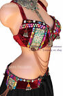 Burgandy Nawaar Jeweled Belly Dance Bra Tribal ATS Burlesque Fusion Renaissance