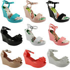 SALE WOMENS LADIES ANKLE STRAP PATENT PLATFORM JELLY PEEP TOE WEDGES SHOES SIZE