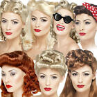 1940s Pin Up Wigs Ladies Fancy Dress WW2 40s Wartime Womens Costume Accessories