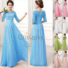 Womens Summer Lace+Chiffon Prom Party Evening Bridesmaid Long Maxi Dresses S-XL
