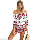 Womens Lady Foral Clubwear Off-shoulder Playsuit Bodycon Party Jumpsuit Romper