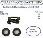 3/8 Double Coiled Spring Rectangular Washers, Self Colour, Mild Steel.