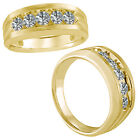 0.5 Carat G-H Classy Diamond Mens Engagement Channel Band Ring 14K Yellow Gold