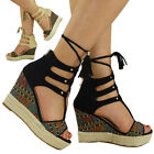 NEW WOMENS LADIES TASSEL ANKLE LACE UP ESPADRILLES HIGH WEDGE SHOES SANDALS SIZE