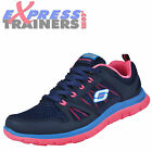 Skechers Womens Flex Appeal Memory Foam Fitness Gym Trainers Navy * AUTHENTIC *