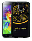 PERSONALIZED RUBBER CASE FOR SAMSUNG S4 S5 S6 GOLD BLACK PAISLEY