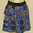 BANANA REPUBLIC Women's Gray & Purple Floral Tiered Skirt Sizes 6 & 8