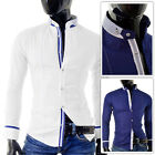 Men's Slim fit Shirt Grandad Collar White Navy Finish contrast Stitching S M L