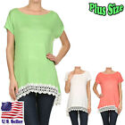 Plus Size Blouse Solid Color Round Neckline Short Sleeve Tunic Top B3002 SD_M
