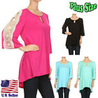 (Plus Size) Blouse Solid Color Pleated  3/4 Sleeve Crochet Trim Top B325 SD_M