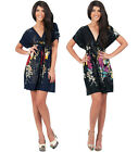 NEW Womens Summer Floral Printed Kaftan Mini Dress XS S M L XL 2X