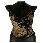 Black Padded Corset/Bustier Nurse Print with detachable straps and Bling Chain