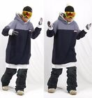 December long tall hoodie ski snowboard sports-simple Blue