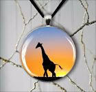 AFRICA WILD LIFE GIRAFFE PENDANT NECKLACE IN SILVER PLATED TRAY -kld5Z