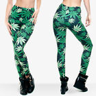 J28339 Women Marijuana Leaf 3D Graphic Print Stretchy Yoga Pencil Pants Leggings