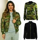 Womens Ladies Canvas Biker Celebrity MA1 Camouflage Army Bomber Jacket Size 8-14